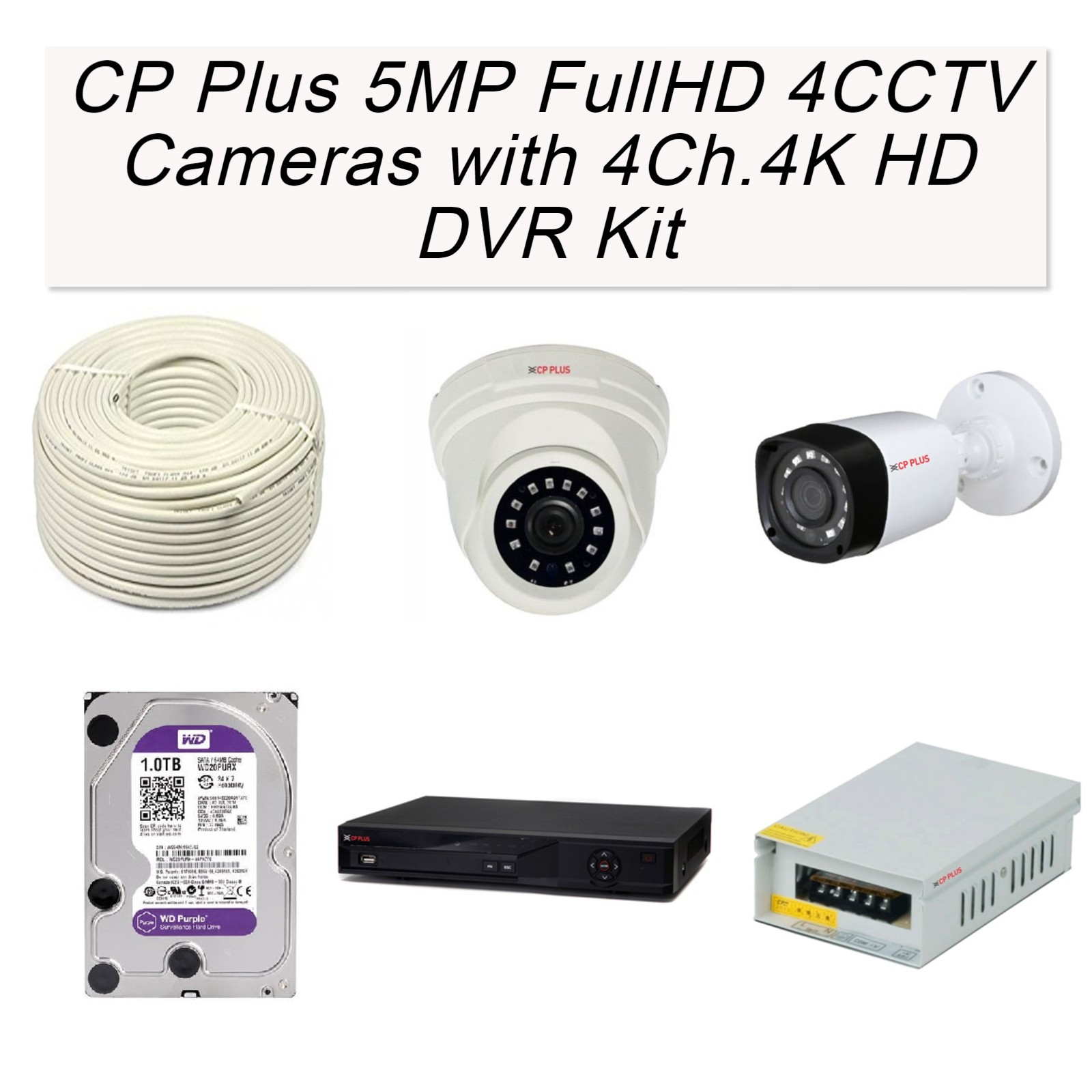 CP Plus 5MP Full HD 4 Cameras with 4Ch. 4K HD DVR Kit