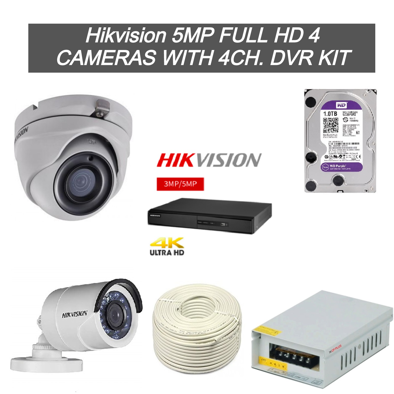 Hikvision 5MP Full HD 4 CCTV Cameras with 4Ch. DVR Kit