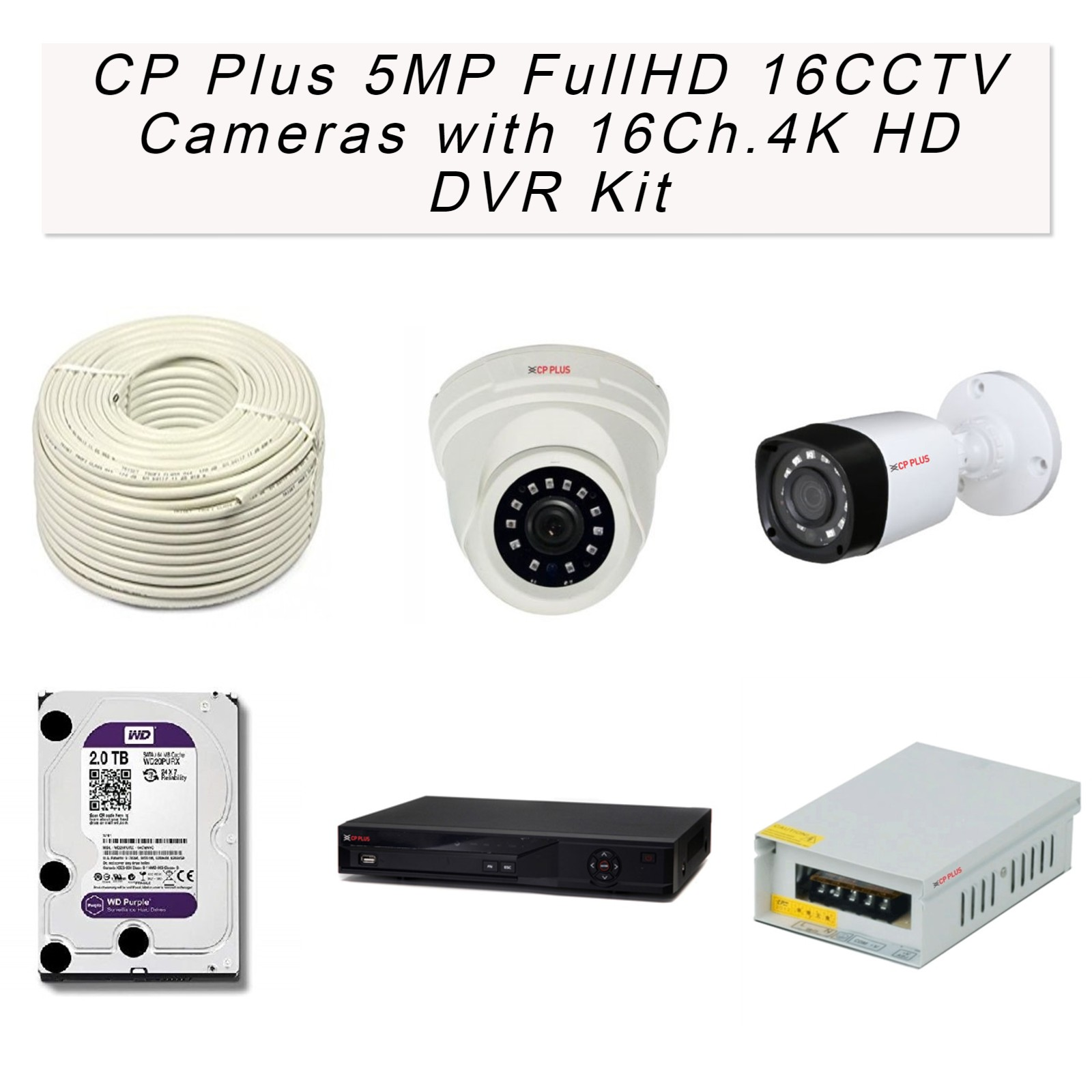 CP Plus 5MP FullHD 16 CCTV Cameras with 16Ch. 4K HD DVR Kit