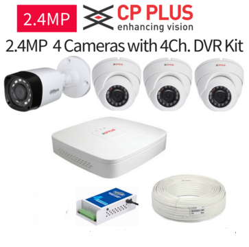 CP Plus 2.4MP Full HD 4 Cameras with 4Ch. DVR Kit
